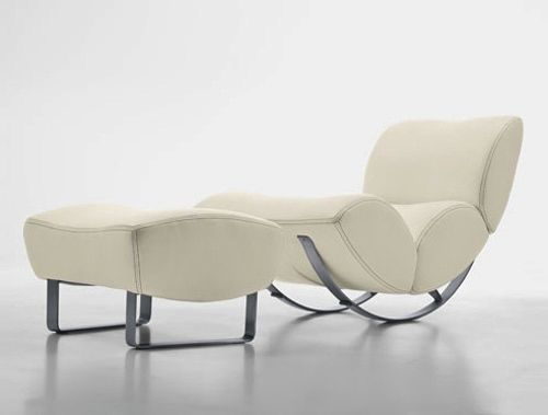 White Leather Modern Design Rocking Chair With Footstool By Koinor1 Rocking Armchair Big Rocking Chair White Leather Furniture