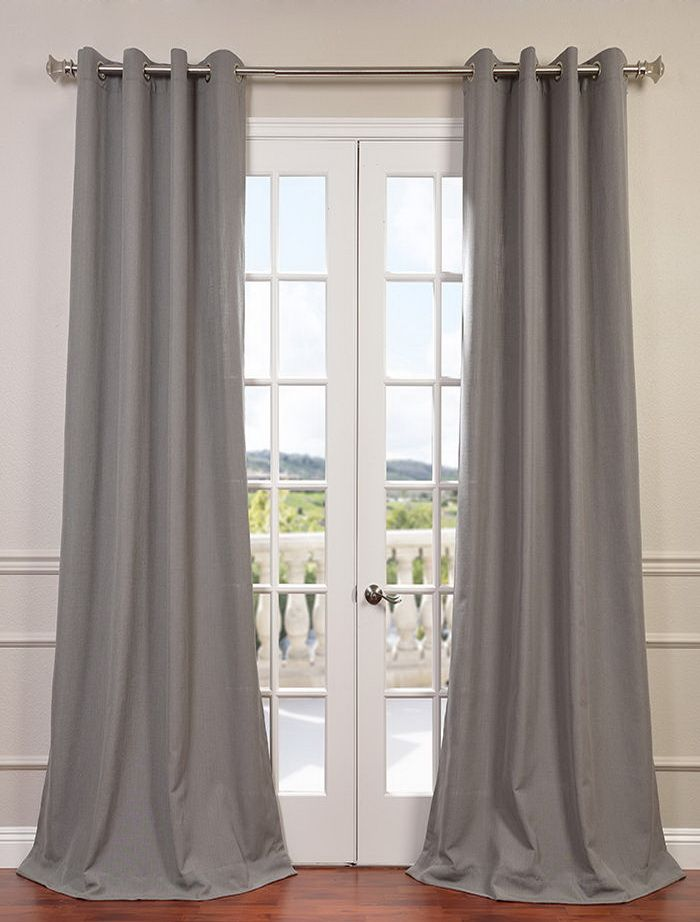 Pewter Grey Grommet Heavy Faux Linen Curtain Half Price Drapes Curtains Panel Curtains