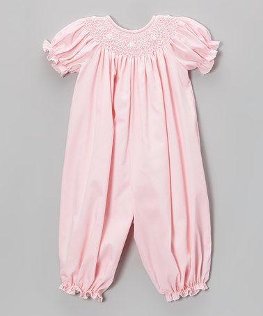 Look at this #zulilyfind! Pink Smocked Playsuit - Infant #zulilyfinds