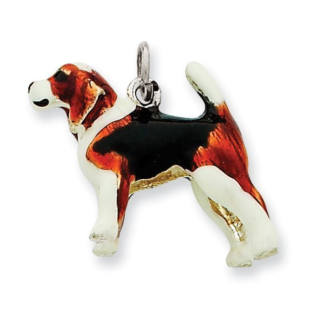 Sterling Silver Enameled Beagle Charm Dog Charms