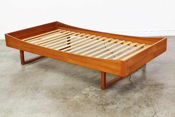 Danish Modern Teak Twin Size Floating Bed Frame By Vintagesupplyla