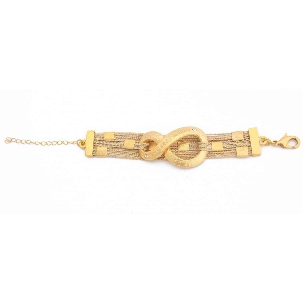 """Bracelete """" Que Seja Infinito"""" Dourado com Detalhes em Palha de Buriti."""