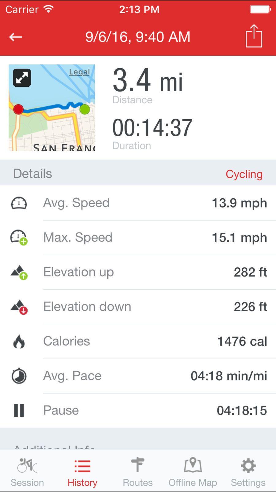 Runtastic Road Bike Gps Amp Health Fitness Ios Route Tracker
