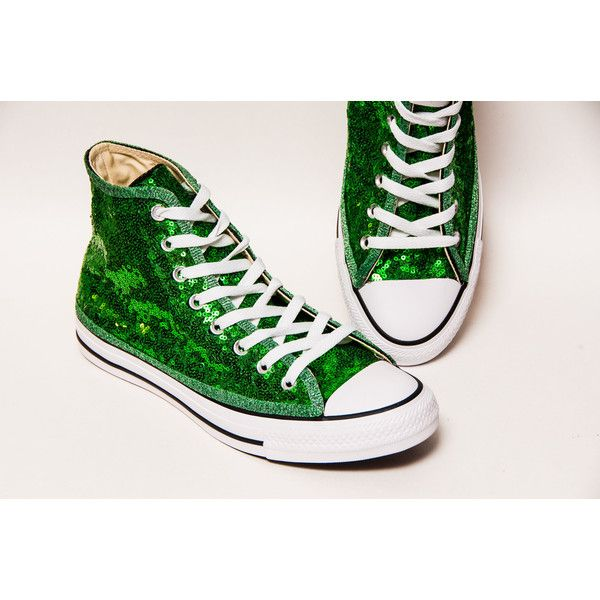 9feba020c4 Tiny Sequin Starlight Kelly Green Canvas Canvas Hi Top Sneakers Shoes  ( 130) ❤ liked
