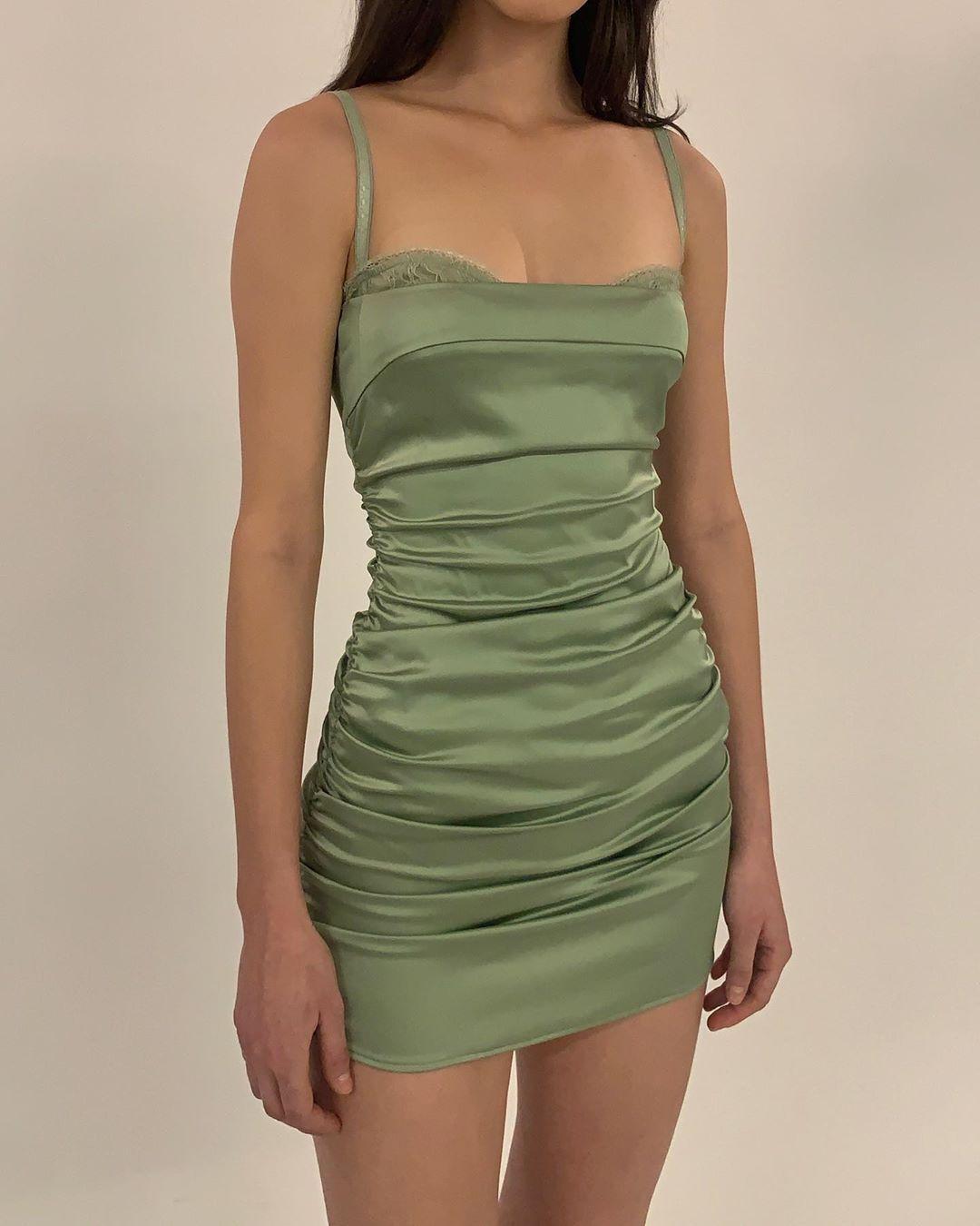 Olive green mini satin dress