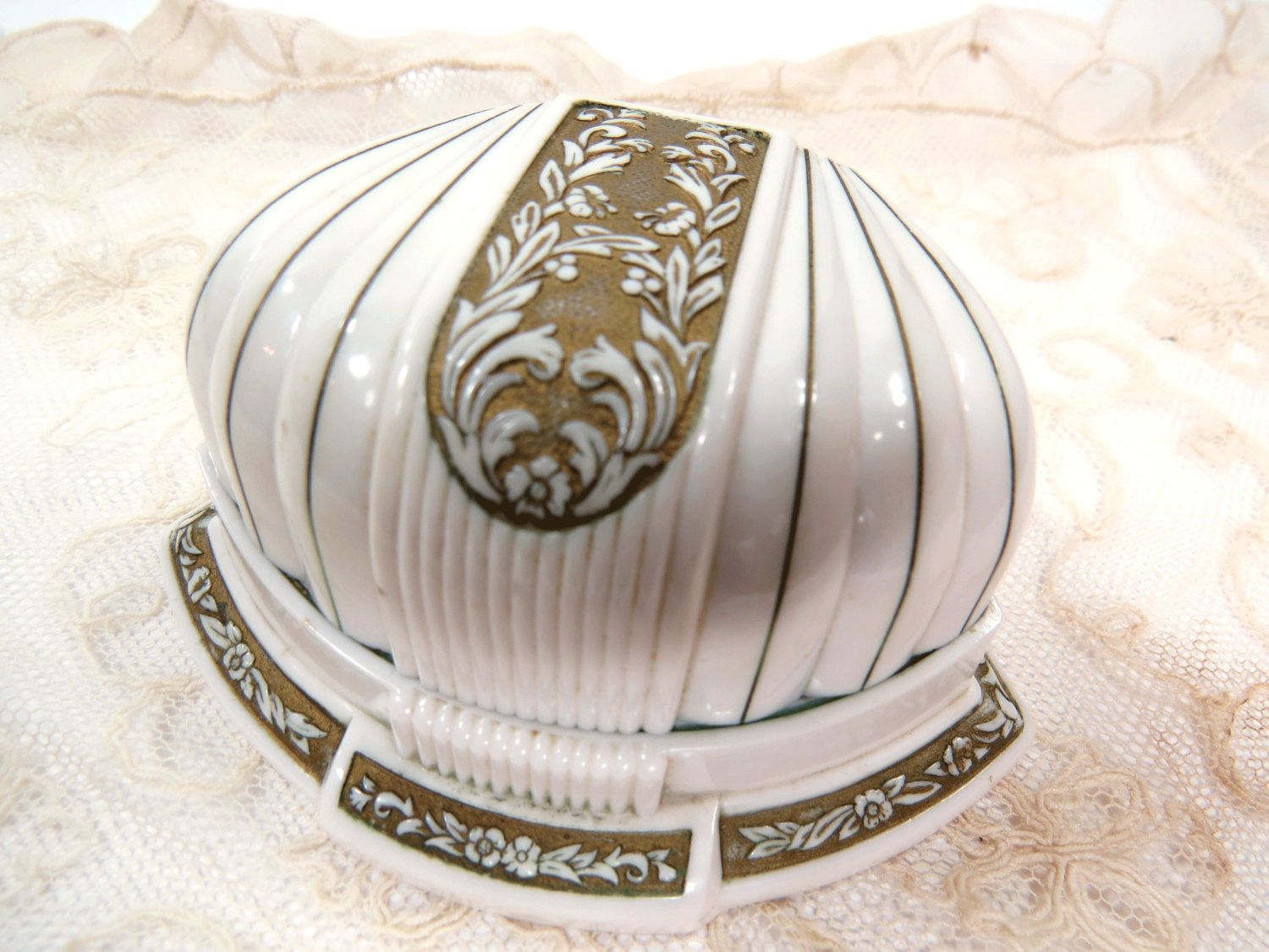 Vintage Double Wedding Ring Box Ivory Celluloid Gold Floral Design
