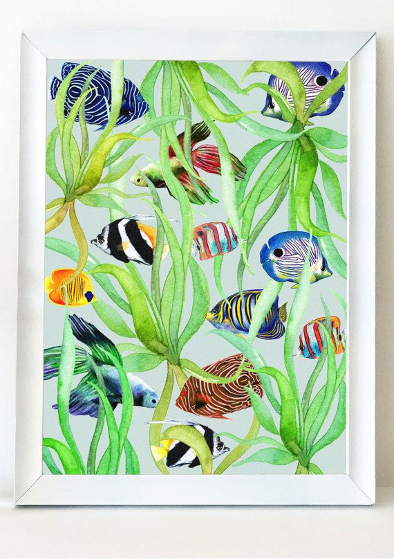 Seaweed Tropical Fish Poster Print Digital By BloomCocoon On Etsy
