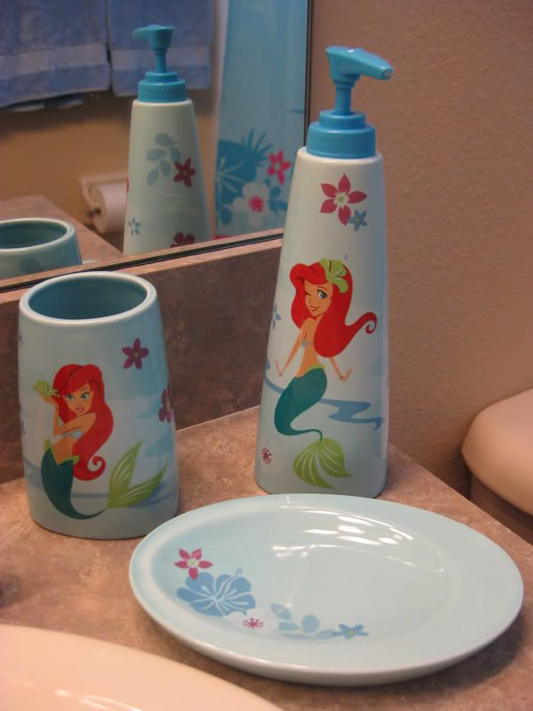 Mermaid room decor create a little mermaid themed for Space themed bathroom accessories