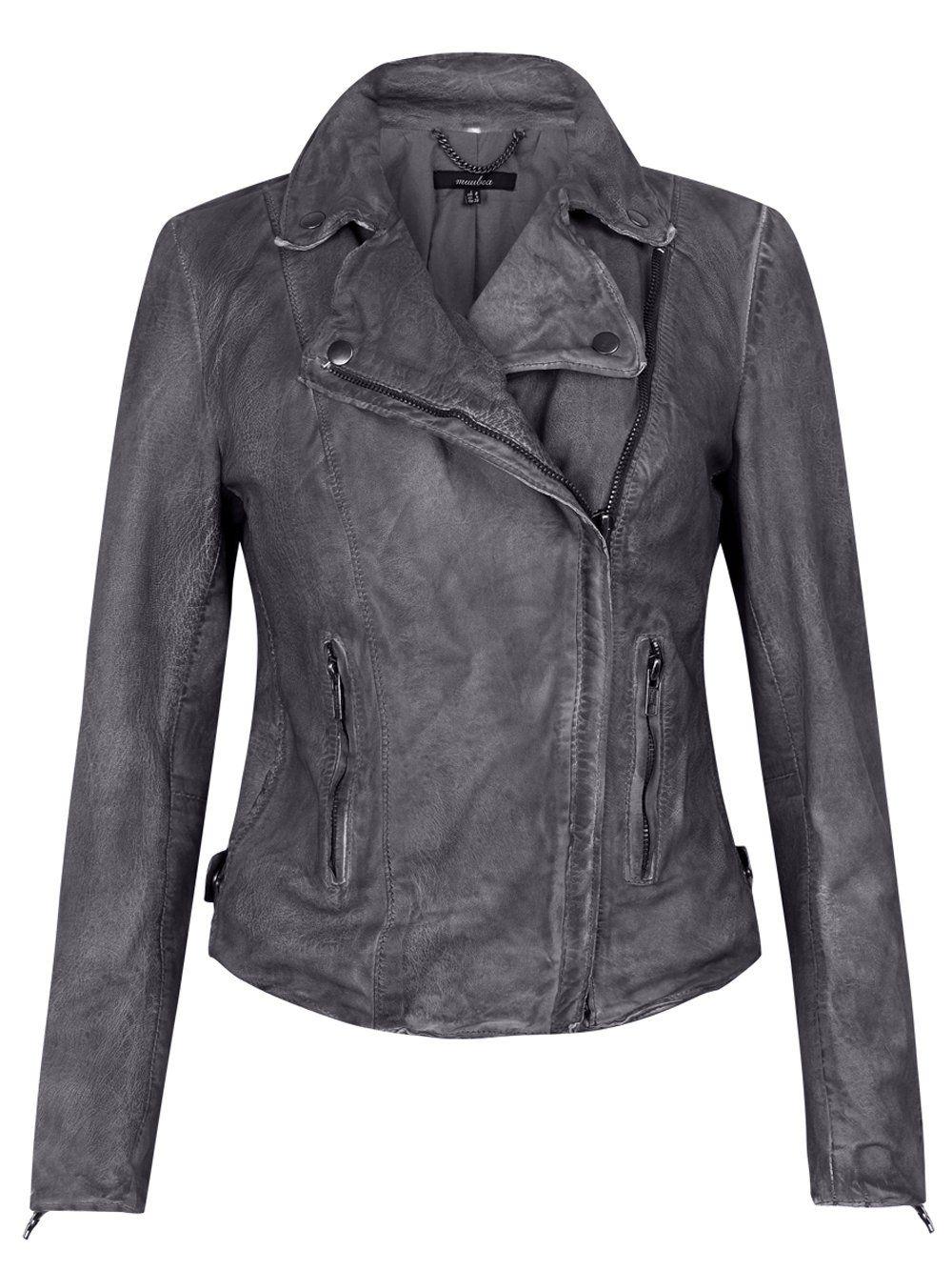 Monteria Leather Biker Jacket In Charcoal Grey Designer Leather Jackets Muubaa Leather Jacket Grey Leather Jacket [ 1334 x 1000 Pixel ]