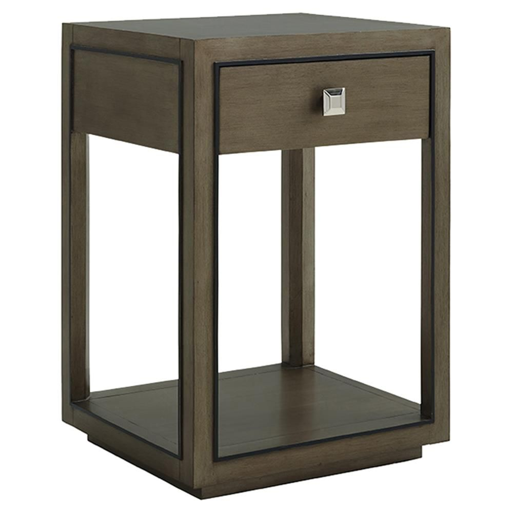 Best Lexington Margaux Modern Classic 1 Drawer Taupe Grey Wood 400 x 300