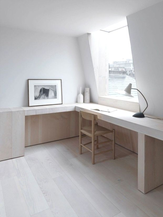 Clean lines in white and wood  via