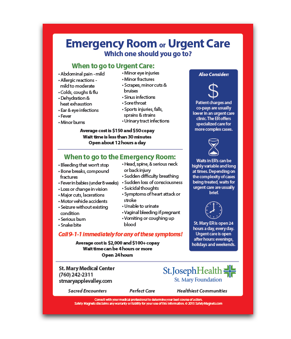 Clearing up the Emergency Room vs. Urgent Care Confusion | Safety ...