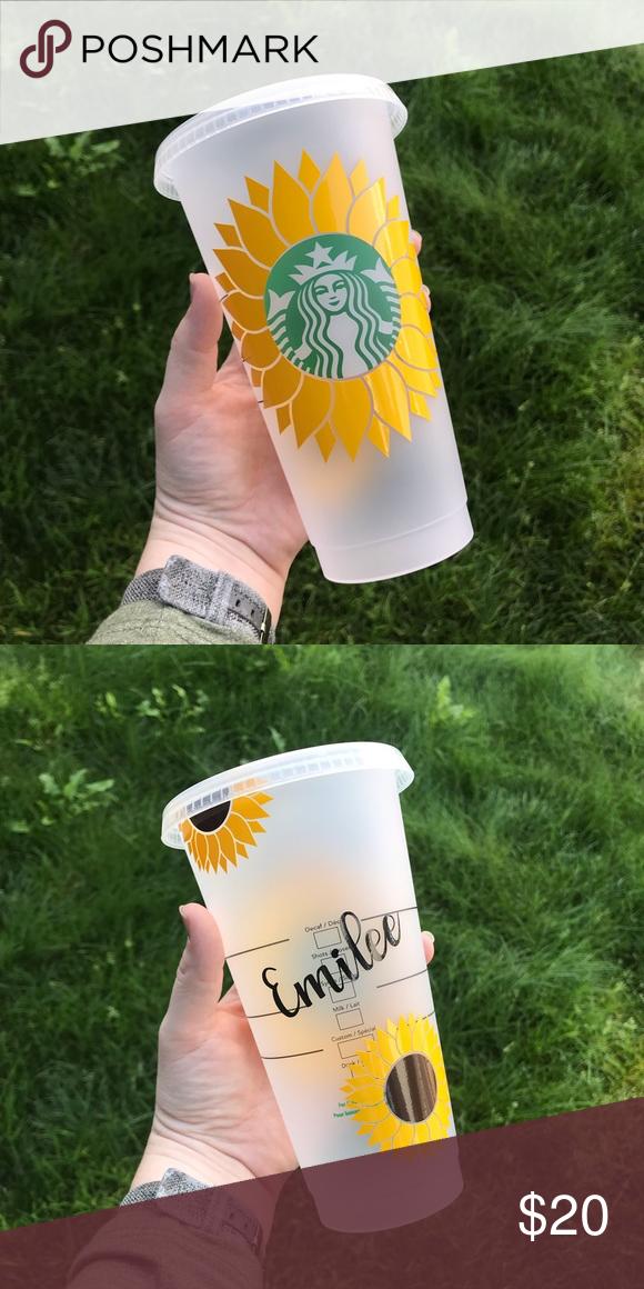 Custom Sunflower Reusable Cup Starbucks Cups Custom Starbucks Cup Starbucks Diy