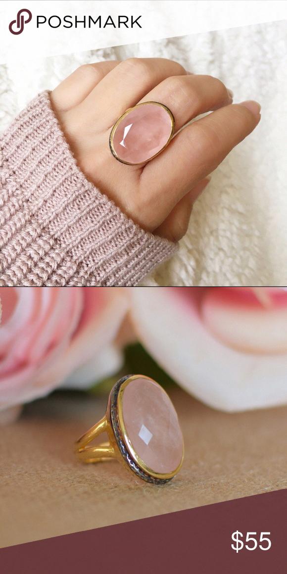 Natural Gemstone Free Shipping Rose Quartz Pear Shape Stone Rose Quartz Ring Pear Shape Ring Sterling Silver Ring Handmade Ring