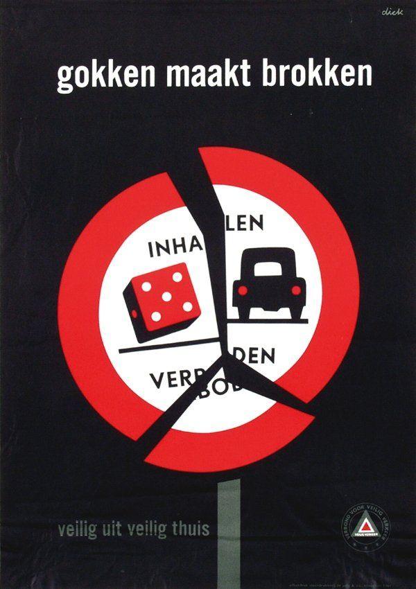 """Poster """"gokken maakt brokken (Gambling makes chunks)"""", 1961"""