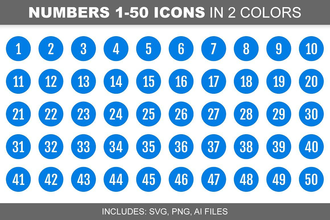 Blue Number Icons 150, in 2 Colors (With images) Number