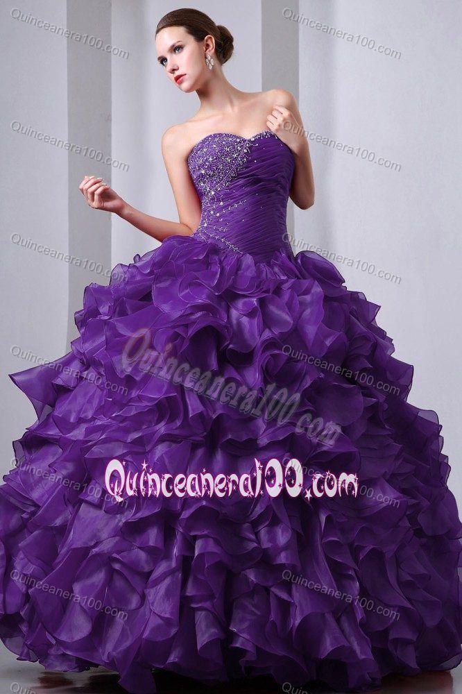 f2abae074e Perfect Organza Princess Ruffled Beaded Purple Quinces Dress Vestido De  Festa De 15 Anos Da Cinderela