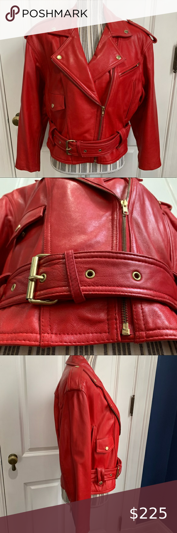 Wilson S Cropped Red Leather Jacket Small Moto Wilson S Small Jacket With Shoulder Pads 80s Bolero Sleeves Dry Clean Red Leather Jacket Leather Jacket Jackets [ 1740 x 580 Pixel ]