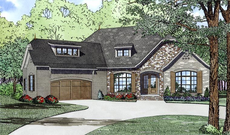 European Style House Plan 82166 With 3 Bed 3 Bath 2 Car Garage Family House Plans Monster House Plans Country House Plans
