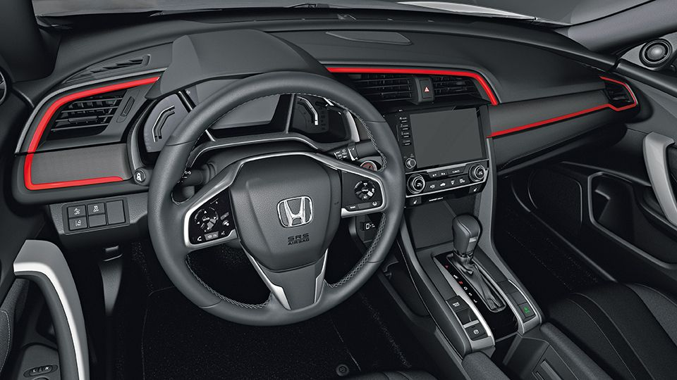 Trim Out Your Interior With Some Color Available In Rallye Red Energy Green Vivid Sky Blue And Berlina Black Pieces Honda Civic Hatchback Honda Honda Civic