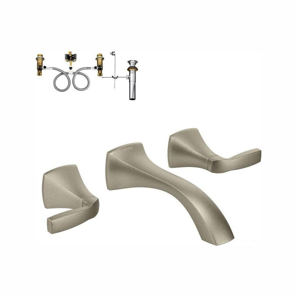 Moen Voss 2 Handle Wall Mount Bathroom Faucet With Valve In Brushed Nickel T6906bn 9700 Bathroom Faucets Faucet Wall Mount Faucet
