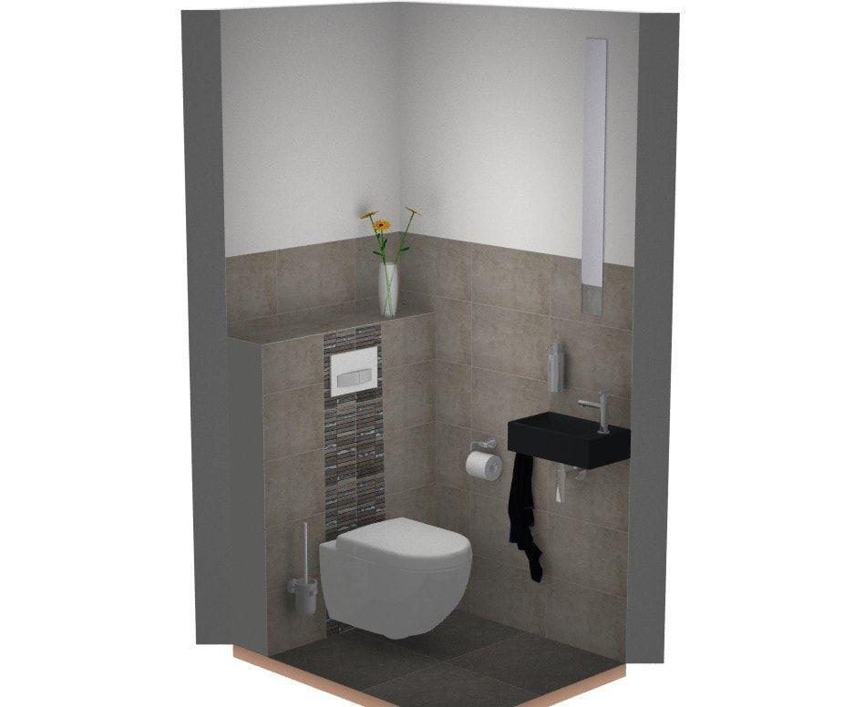 Leuk idee voor de toilet: een strook mozaïek achter de toiletpot. de