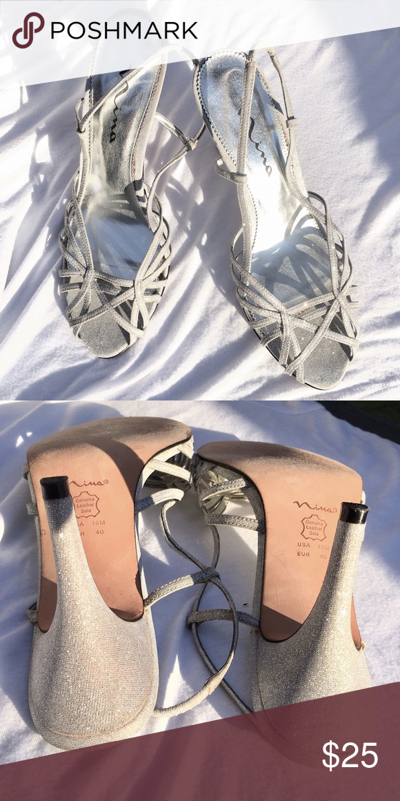 Nina heels Sparkles!! Pretty and in beautiful condition. Size 10M Nina Shoes Heels