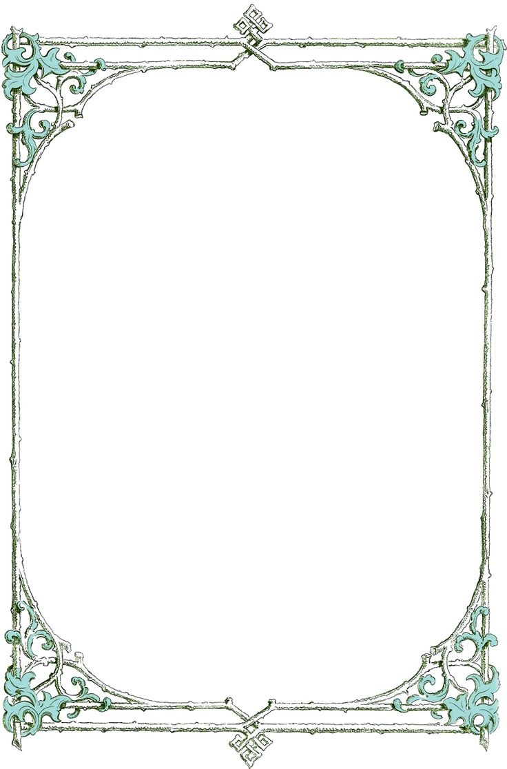 Leafy Clip Art Border Frame From An Antique Book Blue Leaves And Green Twigs In The