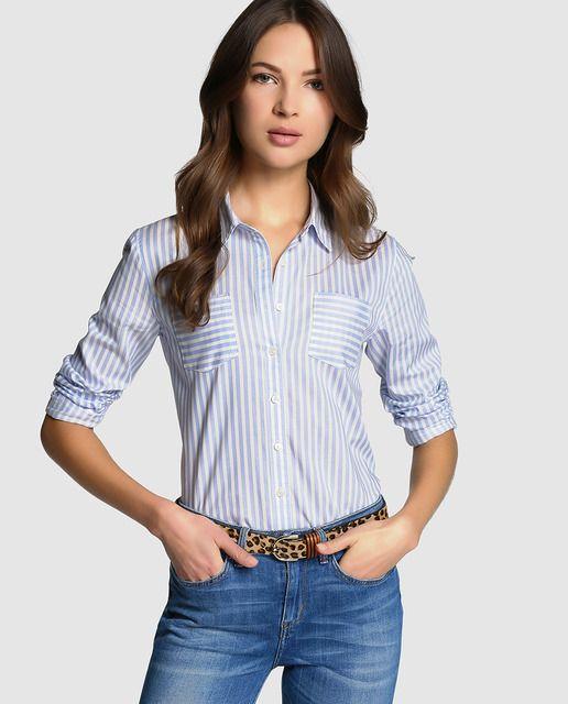 20a08fa73d5 Camisa estampada a rayas en tonos azul claro