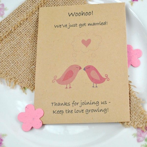Just married recycled seed packet wedding favour