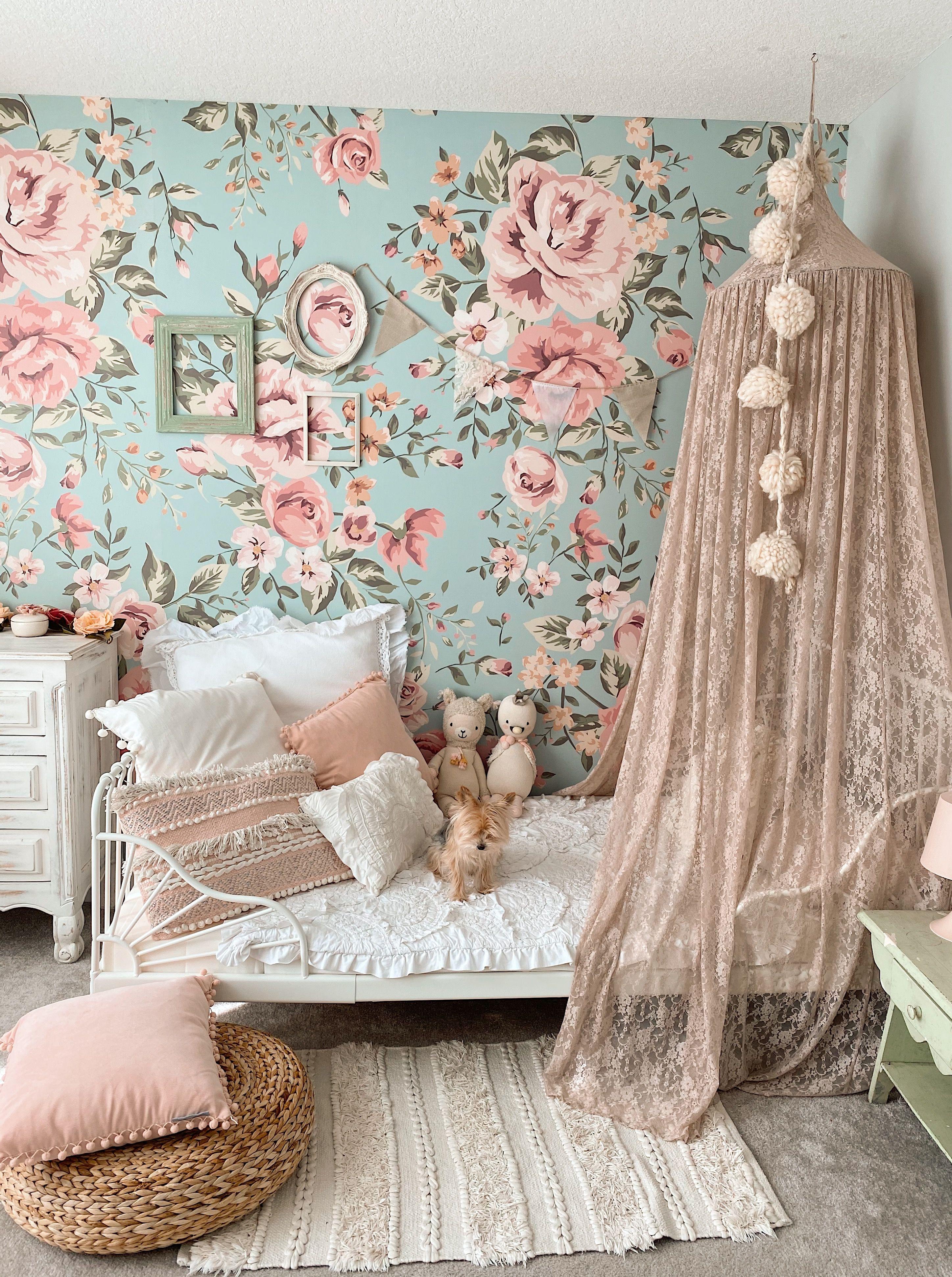 Floral Kids Wallpaper Vintage Kids Room Girls Bedroom Wallpaper Girl Bedroom Decor Flower bedroom wallpaper images