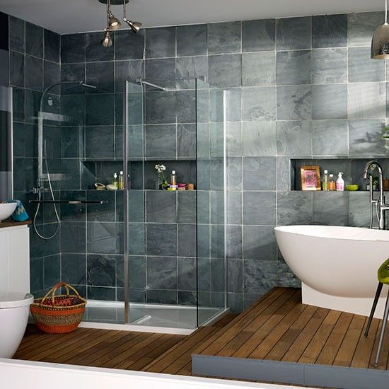 modern bathroom with oak flooring and grey tiles | bathroom