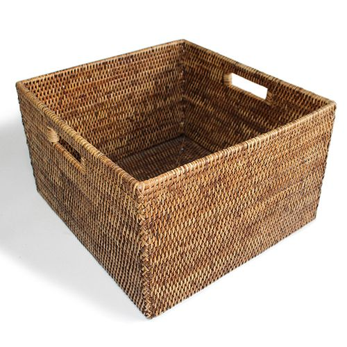 Rattan Basket Square Open w/ Cutout Handle
