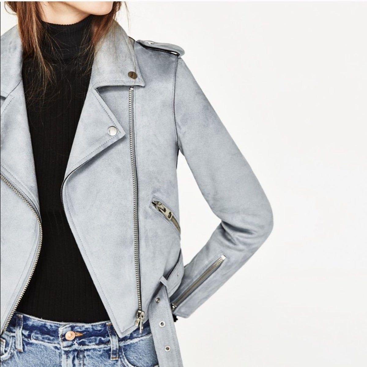 Zara Basic Outerwear Suede Moto Jacket In 2021 Blue Jackets Outfits Blue Suede Jacket Suede Jacket Outfit [ 1200 x 1200 Pixel ]
