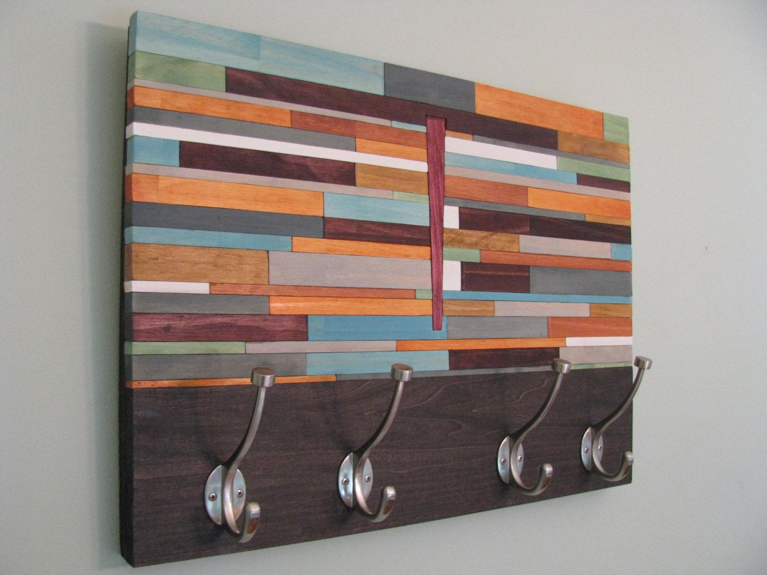 The naked slat wooden coat rack Stains and Grains Designs