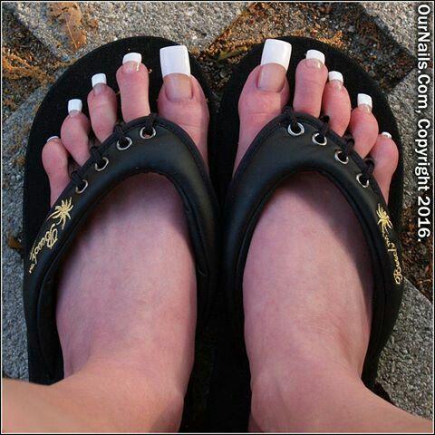 Long French Pedicure Long Toenails Long Toes Toe Nails