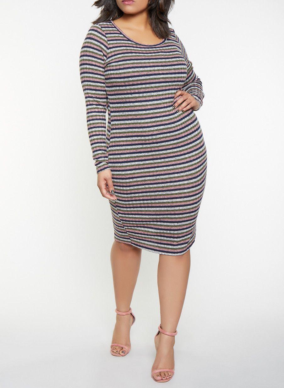 b07749e9c37 Plus Size Striped Rib Knit Sweater Dress - Blue - Size 2X