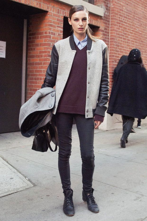 7 on-Trend Ways to Style a Varsity Jacket ... | Street styles and ...