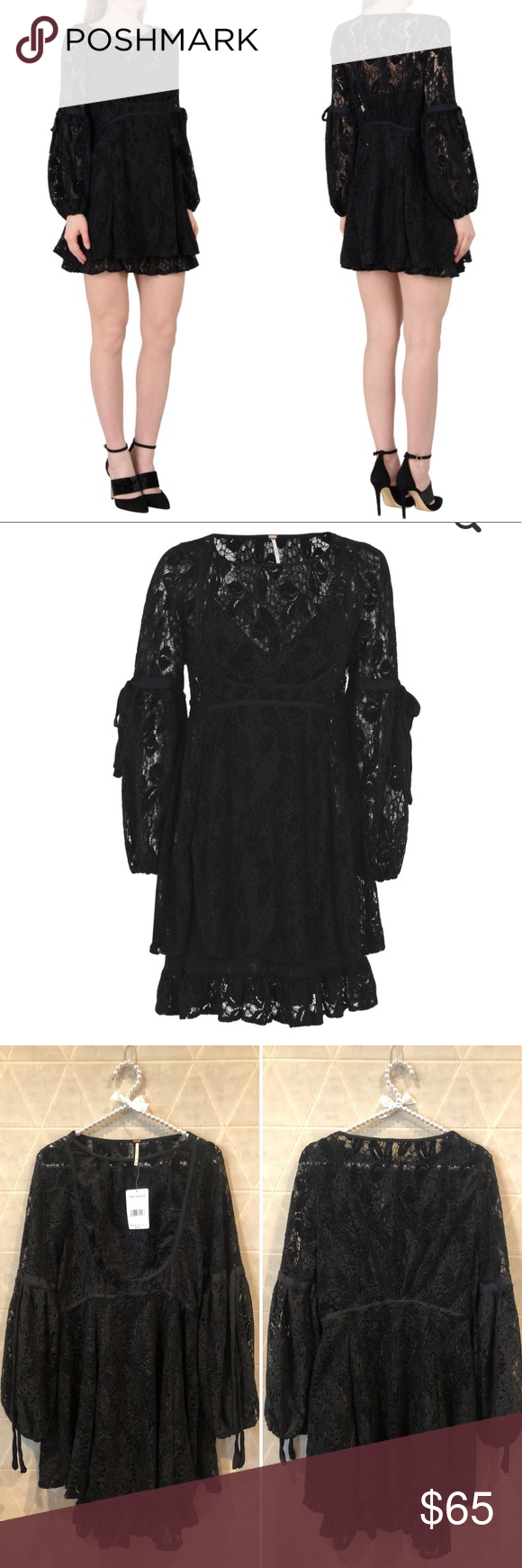 140a70baa91a2 Free People Ruby Lace Dress w Tie Sleeves black S Free People Ruby Lace  Dress w Tie Sleeves black S NWT Cami-style underlay Adjustable straps Tie  sleeves ...