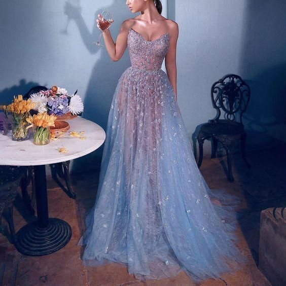 blue lace prom dresses for women beaded elegant a line sexy formal dresses vestido de Longo