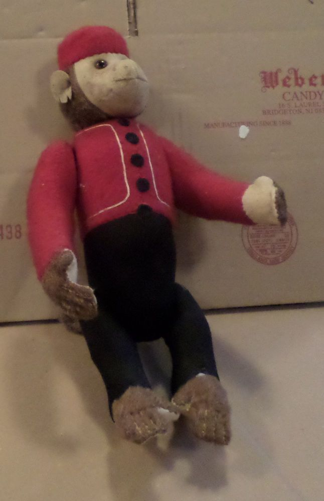 "vintage 12"" Felt & Mohair Jointed mechanical organ grinder Monkey - glass eyes"