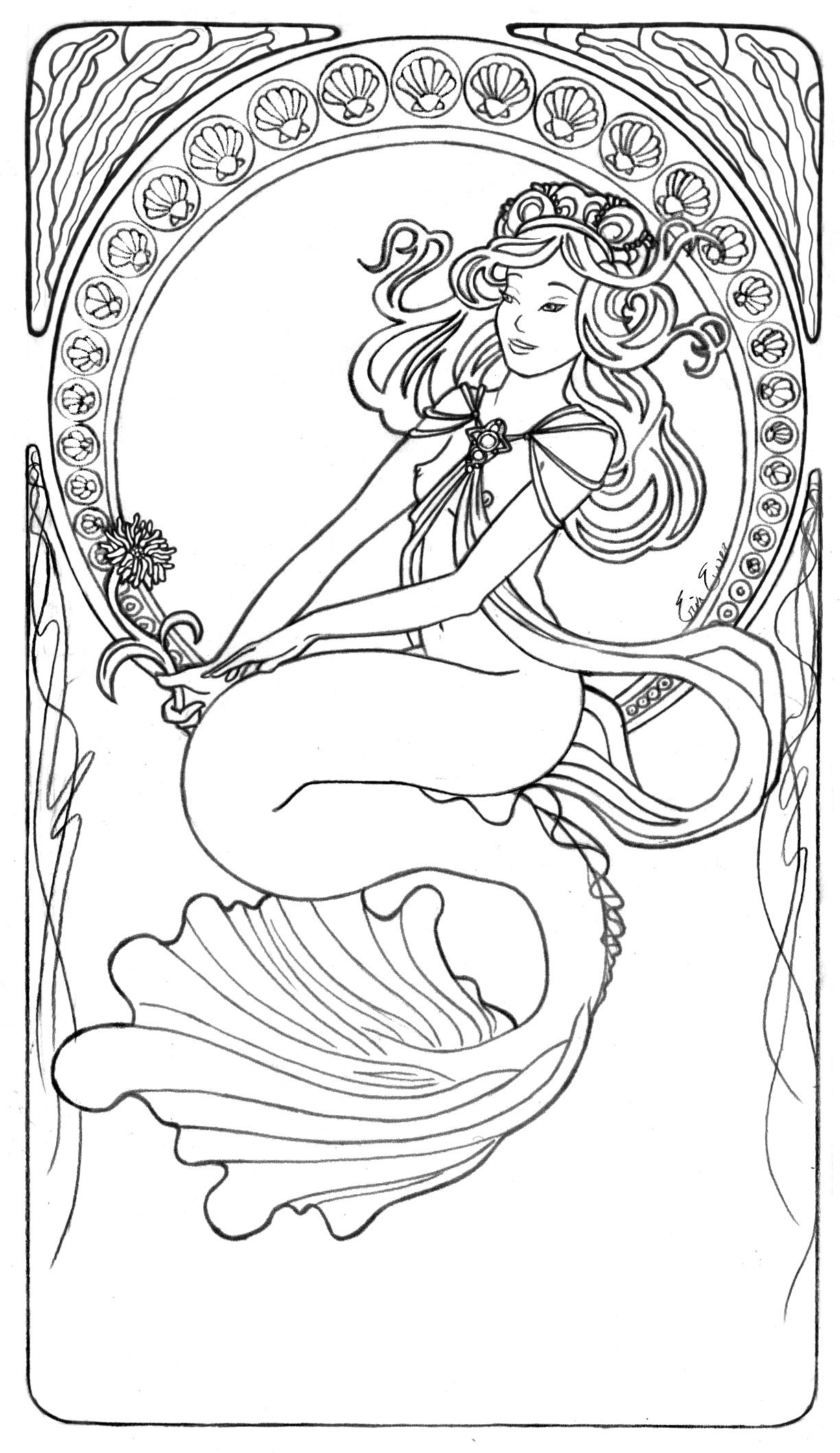 Mermaid Line Art by LiquidFaeStudios on deviantART sirne