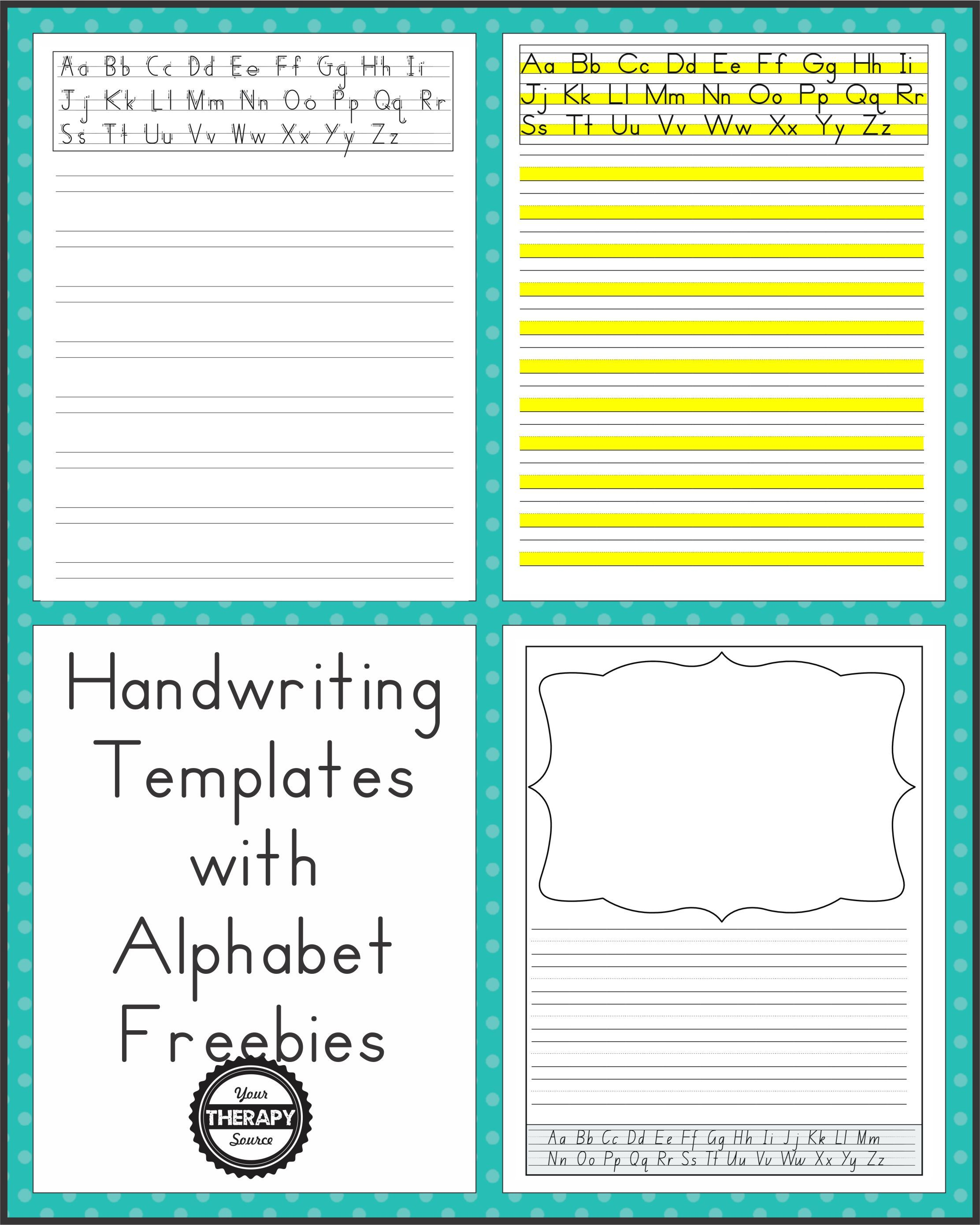 Here are some free sample pages from a new download packet, Handwriting  Templates with Alphabet