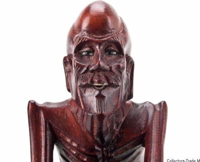 China 20. Jh. Holzfigur - A Chinese Wood Figure of an Arhat - Chinois Cinese