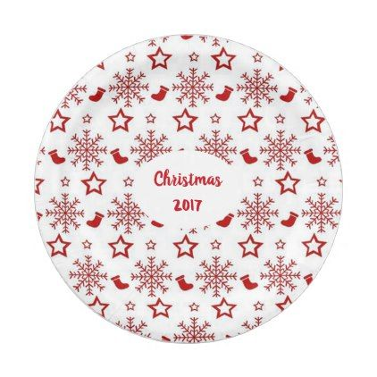 sc 1 st  Pinterest & Christmas Red Stockings and Snowflakes Custom Paper Plate
