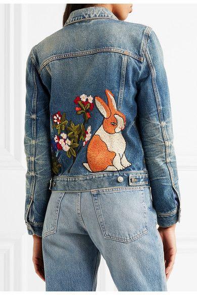 22395328 Gucci - Embroidered denim jacket | Textile Art | Embroidered denim ...