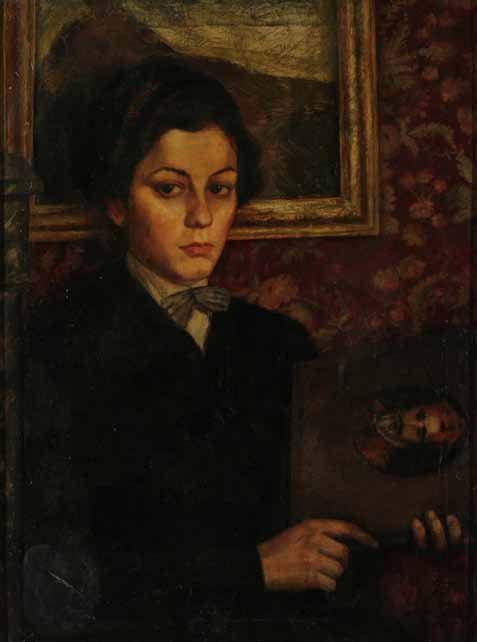 Ketevan Maghalashvili (1894-1973). Portrait of Elene Akhvlediani, 1924, oil on canvas, 80×60 cm. GNM, Shalva Amiranashvili Museum of Fine Arts.