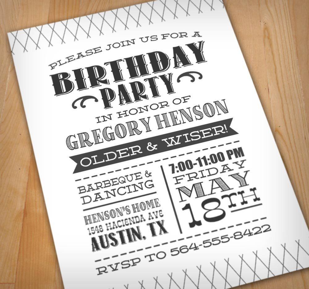 LETTERPRESS Digital Birthday Party Invitation | Invitations ...