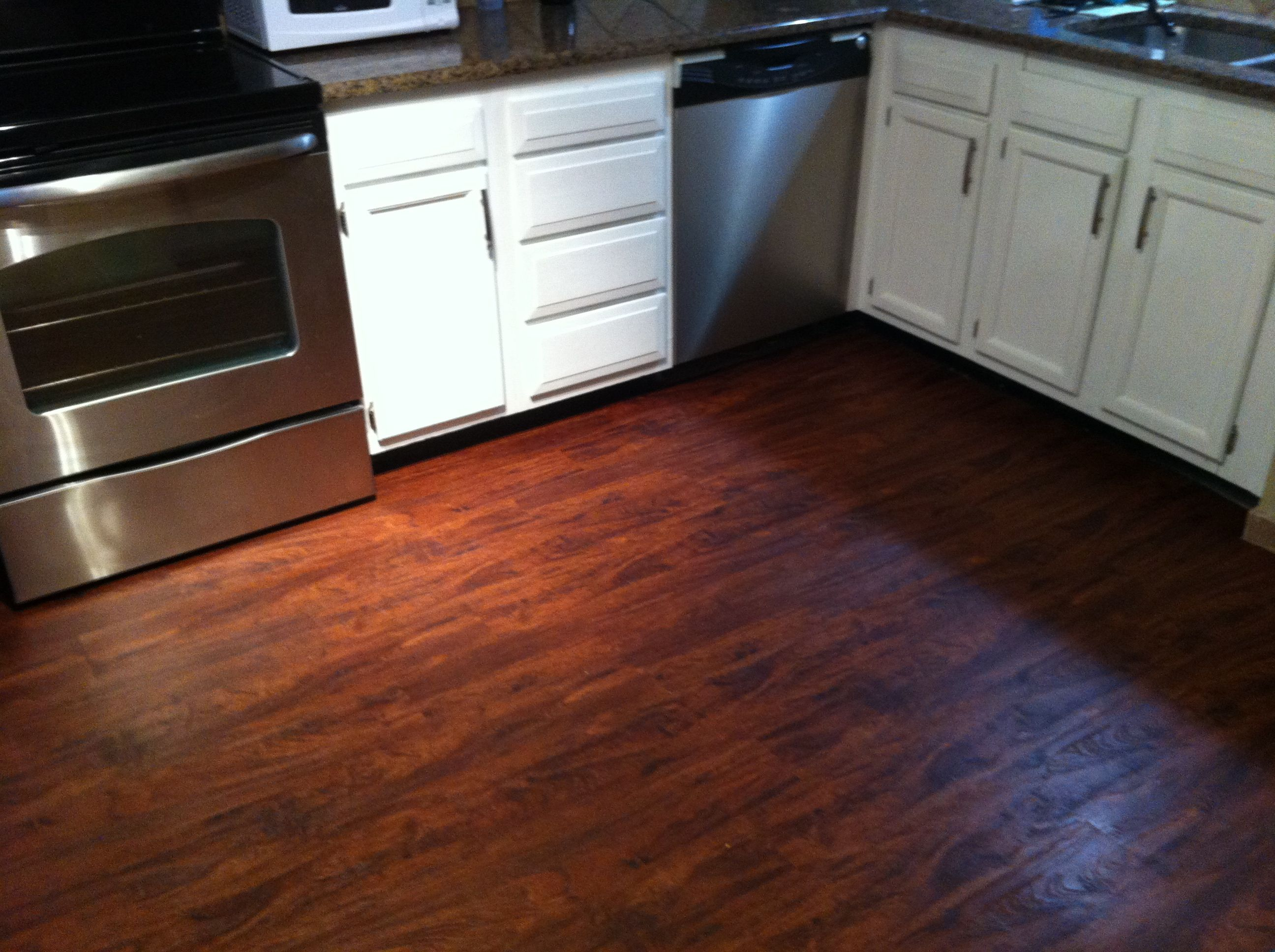 New Allure Cherry Plank Flooring In My Kitchen Can T Believe How Excellent It Turned Out Waterproof Flooring Flooring Plank Flooring