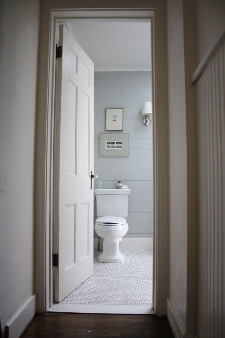 Bathroom Tiles Horizontal horizontal shiplap and white hex tiles = cottage bathroom